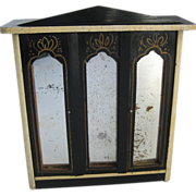 Antique doll house furniture Kestner German Boule gilt stenciled mirrored armoire rare size small doll