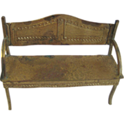 Antique German Erhard & Söhne dollhouse ormolu small bench settee
