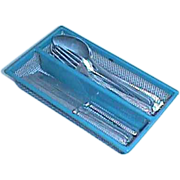 Blue German antique miniature tin  Kitchen Silverware & tray