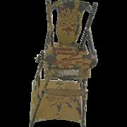 Antique German miniature doll house  tin litho folding highchair