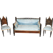 Ebony antique dollhouse Boule Kestner Furniture parlor set