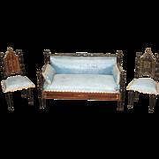 Ebony antique dollhouse Boule Kestner Furniture parlor set