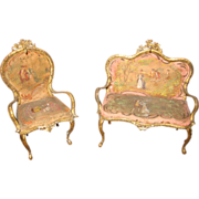 Antique French miniature dollhouse silk decorative ormolu 2 piece set watch holder