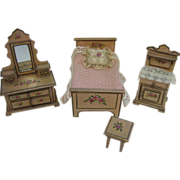 4 piece Antique Cottage style miniature dollhouse bedroom set pink floral