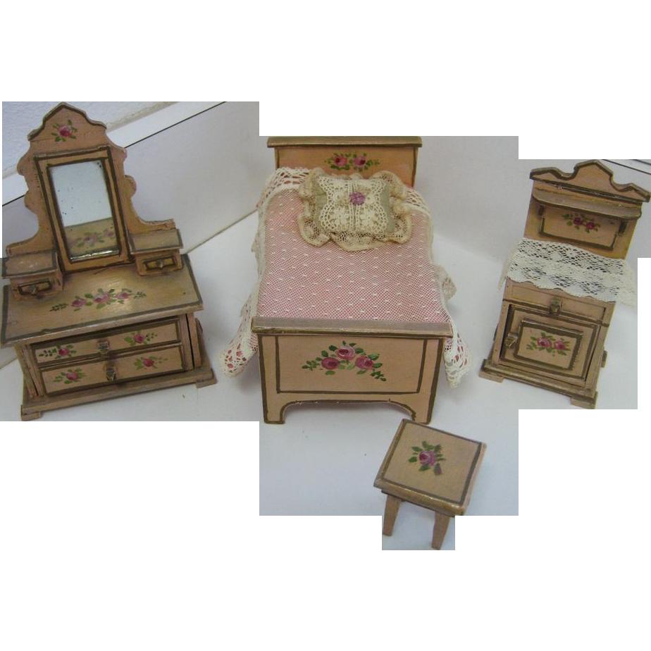 4 Piece Antique German Miniature Dollhouse Bedroom Set