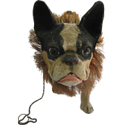 Antique French Paper Mache Pull Toy small Bulldog