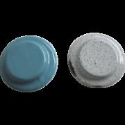 Antique German kitchen Miniature graniteware enamel small plate
