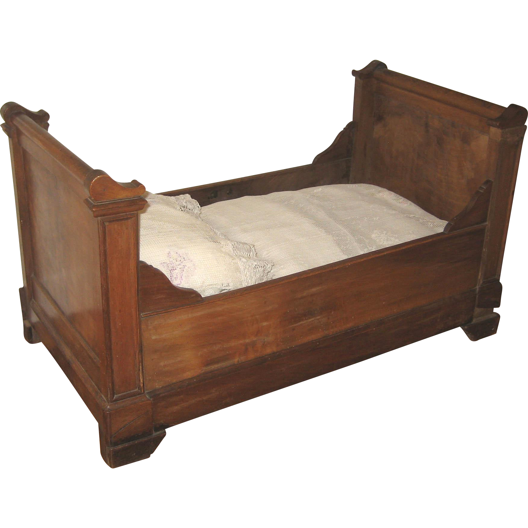 Antique French large doll size wood sleigh bed from ...