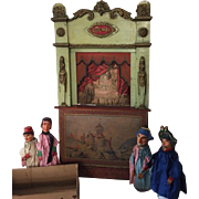 Antique Guignol French toy theater with puppets