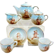 Antique German Kewpie small size tea set