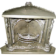 Antique German doll house miniature metal nickel plated corner fireplace