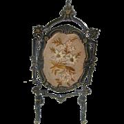 Antique doll house miniature large size Asphaltum finish metal screen