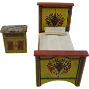 Unusual antique paper litho doll house miniature bedroom set