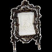 Antique doll house miniature large size Asphaltum finish metal Lithophane screen