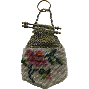 Antique doll beaded pink floral purse