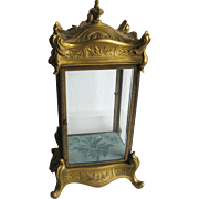 Antique gilt cast bronze ornate glass display case