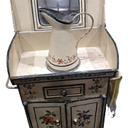 French antique doll metal toile painted wash stand