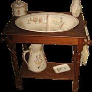 Antique French Sarreguemines Kate Greenaway Enfants Richard wood washstand set
