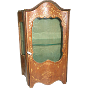 Antique French doll Vitrine Miniature Leather display Cabinet