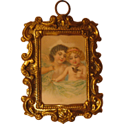 Antique Doll House miniature German cherub picture