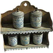 Antique German tin kitchen miniature grain painted blue decorated spice canister rack holder