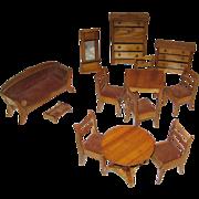 Large set antique German miniature doll house furniture