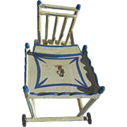 Antique German blue white wood small doll folding high chair