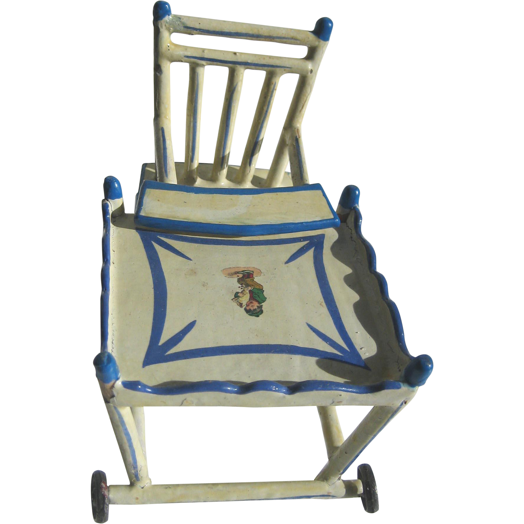 Antique adjustable high chair - Antique German Blue White Wood Small Miniature Doll Folding High Chair