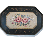Black pink lavender decorative floral antique toleware tray wall hanging