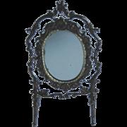 Antique DOLLHOUSE Miniature German soft metal ornate mirror