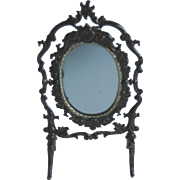 Antique DOLLHOUSE Miniature German soft metal ornate mirror