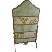 Antique French doll fabric screen gilt decorative frame