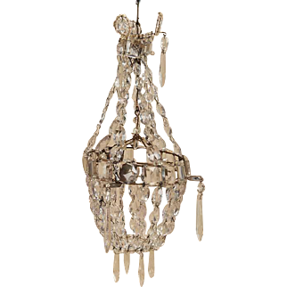 French antique Crystal miniature Chandelier with Elaborate Detail