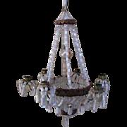 Large German dollhouse miniature beaded antique chandelier antique Christmas ornament