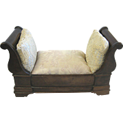 Antique doll French small Sleigh Bed
