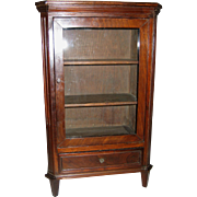 Antique doll miniature cherry or mahogany display cabinet