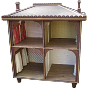 Antique Gothic wood doll house Open front
