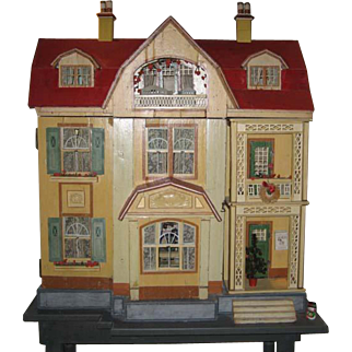 Antique German Gottschalk Red Roof large doll house c1912