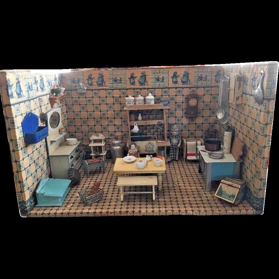Mini Kitchen Room Box: Antique German Delft Kitchen Miniature Doll House Room Box
