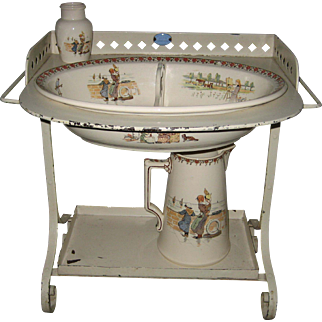 Child's antique French Sarreguemines Kate Greenaway Enfants Richard metal washstand set with Roses
