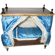 Antique German Boule Canopy Bed French Blue bed with gilt transfer decoration & Dresden trims
