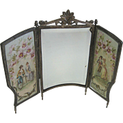 Antique miniature French doll romantic screen with mirror
