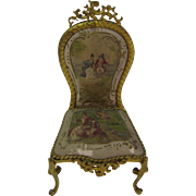 Antique French miniature dollhouse silk decorative gilt bronze chair