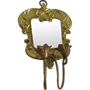 Ormolu antique doll house miniature double sconce with mirror