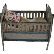 Antique doll house miniature tin cherub crib