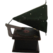 Antique German miniature dollhouse wood gramophone phonograph