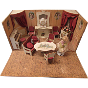 Antique French Miniature Dollhouse burgundy Parlor Furnishings Roombox