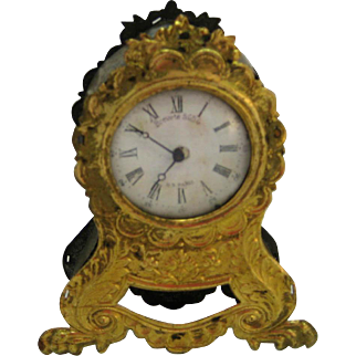 Antique French doll decorative ormolu large clock