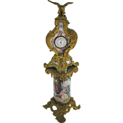 Antique Viennese Austrian miniature Enamel & Bronze pedestal clock