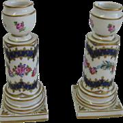 Antique Limoges cobalt pink gilt floral candlesticks doll plant jardinere